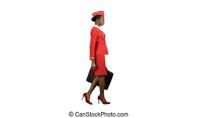 Stewardess afro american walks with a briefcase in her hands. Alpha channel. Side view
