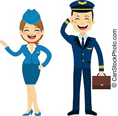 Stewardess And Pilot Characters - Flat style stewardess and ...