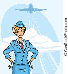 Stewardess - Background with young pretty stewardess