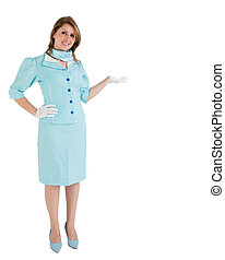 Stewardess dressed in blue uniform presenting your product