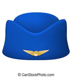 Stewardess hat of air hostess uniform. Isolated on white...