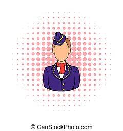 Stewardess icon in comics style