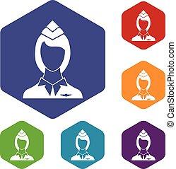 Stewardess icons set