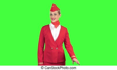 Stewardess in a red suit winks a slight flirt. Green screen...