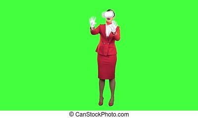 Stewardess in the glasses of virtual reality . Green screen