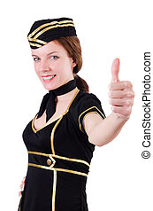 Stewardess isolated on the white