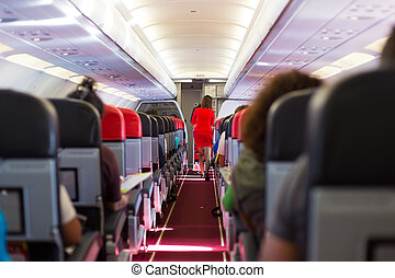 Stewardess on the airplane. - Interior of airplane with...