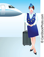 stewardess, op, de, luchthaven
