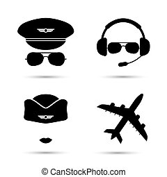 Stewardess, pilot, airplane silhouette. Black icons of aviator cap, stewardess hat and jet. Aviation profession. Flight attendant. Vector illustration. Isolated on white