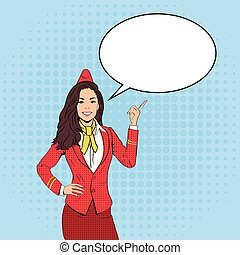 Stewardess Point Finger To Chat Bubble Pop Art Colorful Retro Style
