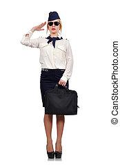 stewardess salutes