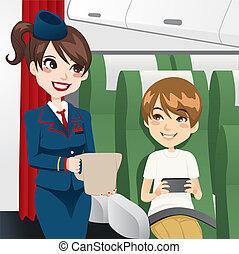 Stewardess Serving Water - Beautiful brunette stewardess...