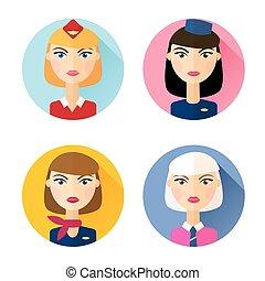 Stewardess. Set of flat style icons.