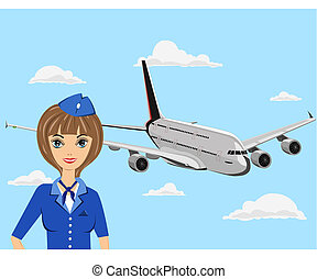 Stewardess - The young stewardess in blue clothes costs near...