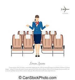 Stewardess transplants passengers on the seats in the airplane. Woman in uniform