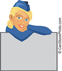 Vector illustration of a beautiful blonde stewardess with room for your text