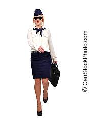 stewardess walking