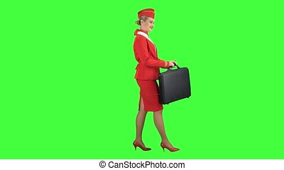 Stewardess walks with a briefcase in her hands. Green screen. Side view