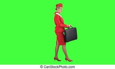 Stewardess walks with a briefcase in her hands. Green...
