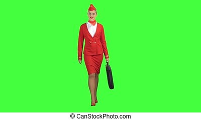 Stewardess walks with a briefcase in her hands. Green screen
