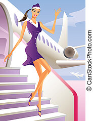 Stewardess welcome aboard in passenger aircraft - vector...