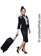 Stewardess with a bag
