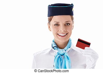 Stewardess with a credit card