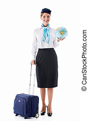 Stewardess with a globe