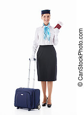 Stewardess with a passport