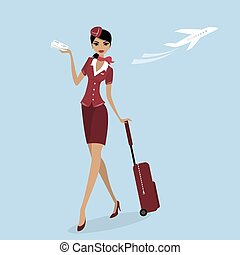 stewardess with a suitcase and a plane ticket