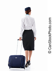Stewardess with a suitcase