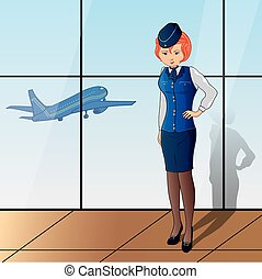 stewardess with blue uniform on background with glass and ...