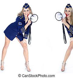 stewardess with megaphone