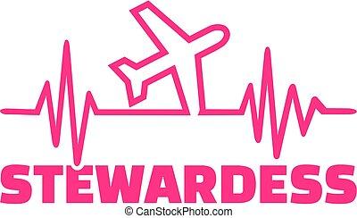 Stewardess with plane heartbeat line