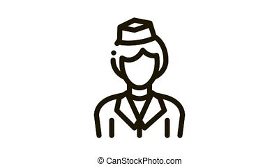 Stewardess Woman Silhouette Icon Animation. black Stewardess Wearing Professional Clothes And Hat Concept Linear Pictogram. Flight Service animated icon on white background