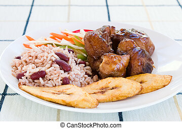 Stewed Chicken with Rice and Vegetables - Jamaican Style