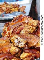Stewed pork leg delicious in street food