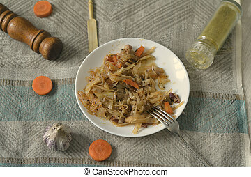 Stewed spicy cabbage on a plate
