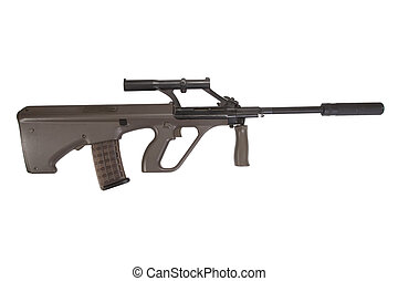 Steyer Aug assault rifle with silencer