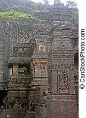 sthambha, norte, 16, caverna, número, temple., corte, principal, lado