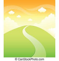 sti, hen, grønt bjerg, og, himmel