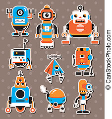 sticers, spotprent, robot