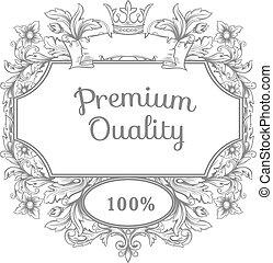 stich, antikes , stil, weinlese, rahmen, verzierung, emblem., dekorativ, vektor, design, retro, muster, rokoko, umrandungen