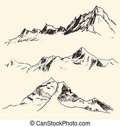 stich, berge, skizze, vektor, konturen