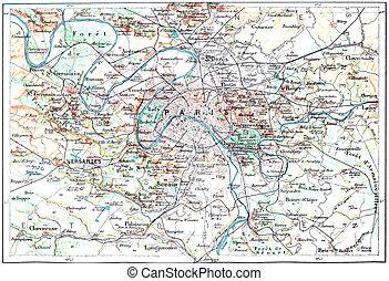 stich, landkarte, weinlese, topographisch, paris, frankreich