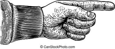 stich, richtung, zeigen, holzschnitt, hand, finger