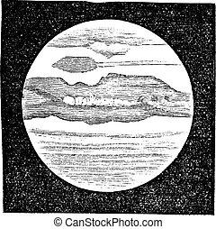 stich, teleskop, weinlese, planet, durch, jupiter, angesehen