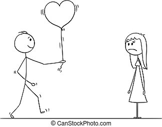Stick Character Cartoon of Loving Man or Boy Giving Balloon Heart to Angry Woman or Girl on Date