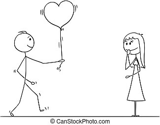 Stick Character Cartoon of Loving Man or Boy Giving Balloon Heart to Woman or Girl on Date