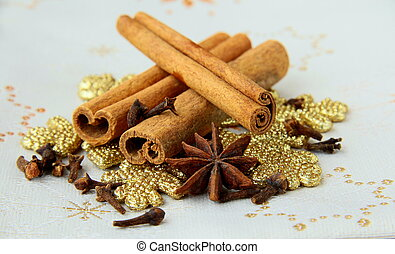 Stick cinnamon, anise and cloves